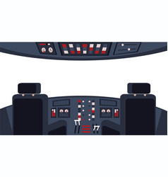 pilots cockpit interior with dashboard and chairs vector image