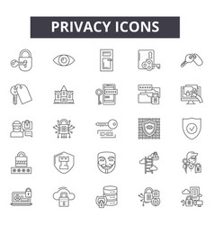 privacy line icons signs set outline vector image