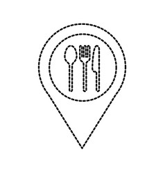 restaruant fork spoon knife pointer map location vector image
