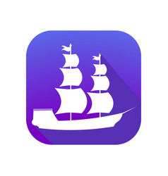 sailing ship flat icon with long shadow columbus vector image