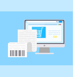 Scan code on paper receipt bill computer screen vector