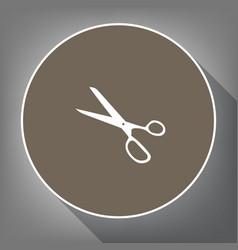 scissors sign white icon on vector image