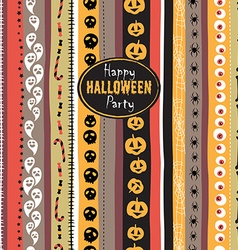 Seamless pattern Vintage Happy Halloween Flat vector