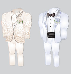 set animated mens clothing groom suit vector image