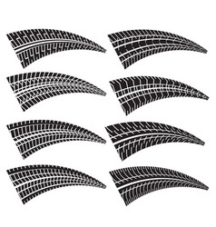 Set of different tire print marks vector