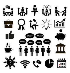 set of icons for business icon conference vector image