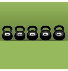 Set of six black kettlebells vector
