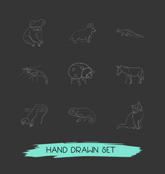 set of zoo icons line style symbols with shrimp vector image