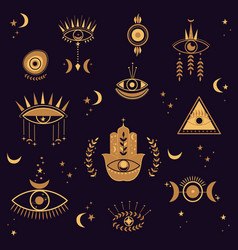 Set with evil eyes and hamsa vector