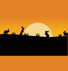 Silhouette of bunny with orange sky landscape vector