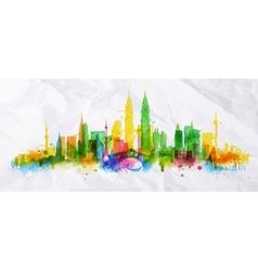 Silhouette overlay city Kuala Lumpur vector