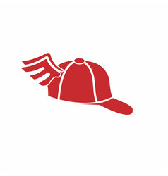simple red hat with wing vector image