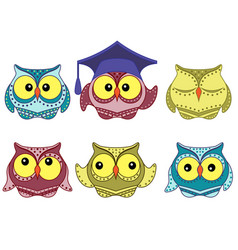Six amusing colorful owls vector