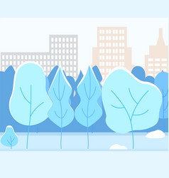 Snowy city park with trees winter weather in town vector