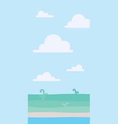 soft nature landscape with blue sky shore and vector image