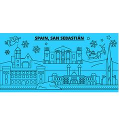 spain san sebastian winter holidays skyline vector image