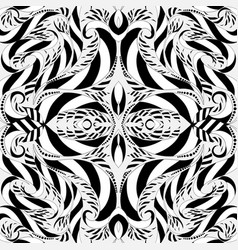 striped black and white floral seamless pattern vector image