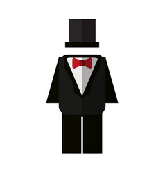 Suit with bowtie and hat icon image vector
