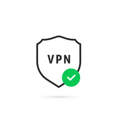 Thin line vpn shield with checkmark vector