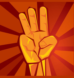 Three finger hand showing raised supporting vector