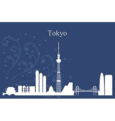 Tokyo city skyline on blue background vector image