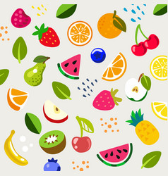 various fruits and berries on beige background vector image