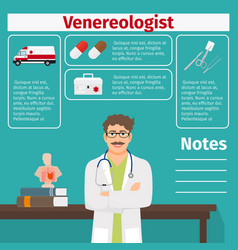 Venereologist and medical equipment icons vector