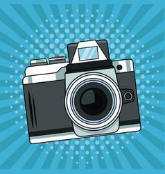 vintage camera pop art cartoon vector image