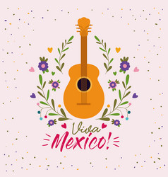 viva mexico colorful poster with acoustic guitar vector image