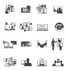Web conferencing webinar black icons set vector