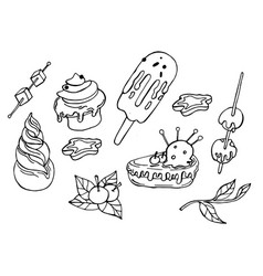 winter coloring elements with tasty cakes vector image