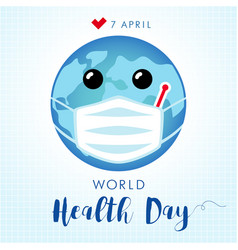 World health day planet in guard mask vector