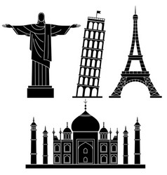 World landmarks leaning tower of pisa eiffel vector