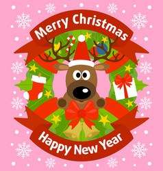 christmas and new year background card with deer vector image vector image