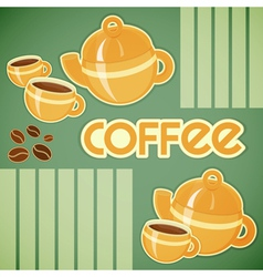 coffee cups coffee pot and coffee beans vector image vector image