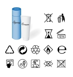 Collection of 14 Symbols Depicted on the Packaging vector image