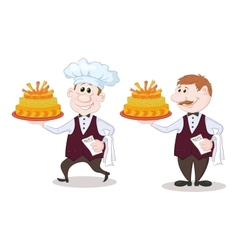 Cook and waiter with holiday cakes vector image