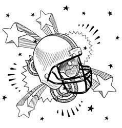 doodle pop football helmet vector image vector image