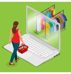E-commerce pay on-line and on-line shopping vector image vector image