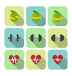 Fitness sport exercises progress icons set vector