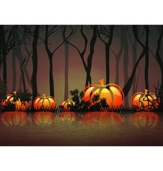 Pumpkin halloween moon night vector