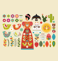 set mexican folk elements in flat design vector image vector image