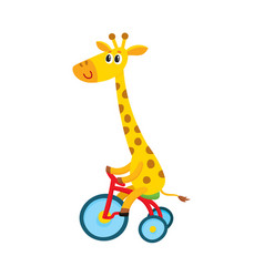 cute little giraffe character riding bicycle vector image