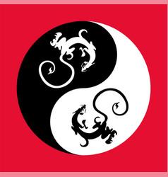 dragon the yin yang vector image vector image