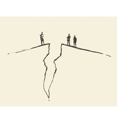 People standing cracked ground Concept vector image vector image