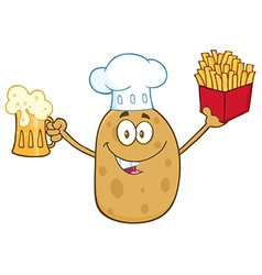 Potato Chef Cartoom Holding Fries and a Beer vector image vector image