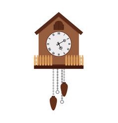 beautiful cuckoo-clock isolated on white vector image vector image