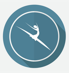 dancer icon on white circle with a long shadow vector image vector image