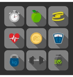 Fitness exercises progress icons set vector image vector image