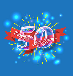happy 50th anniversary glass bulb numbers set vector image vector image